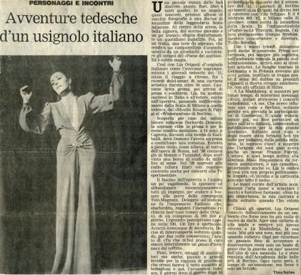 Avventure tedesche d'un usignolo italiano (da L'Unione Sarda)
