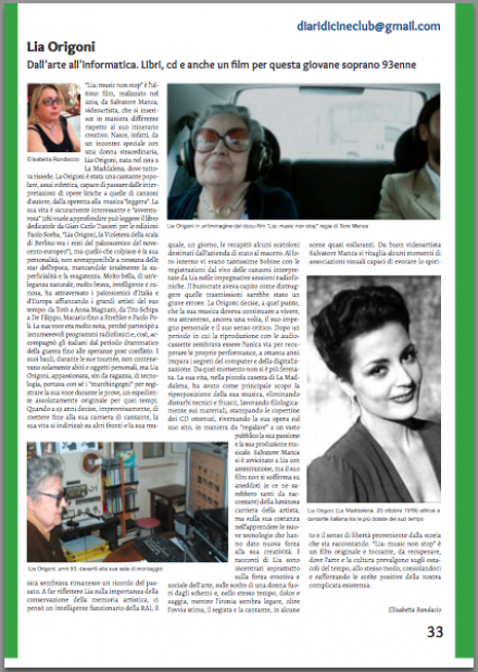 Lia Origoni: Dall'arte all'informatica (da Diari di Cineclub N.27 Aprile 2015)