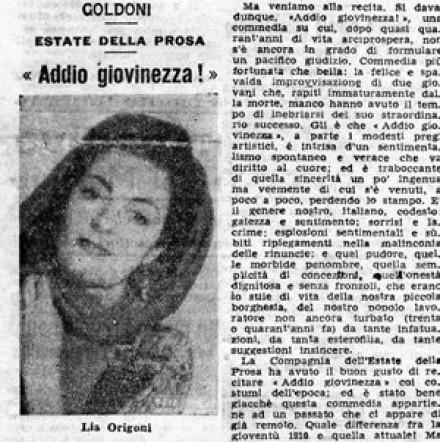 """La Gazzetta di Venezia : """"Addio giovinezza!"""""""