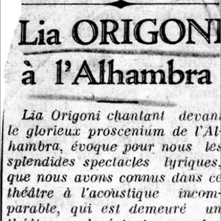 Ad Alessandria d'Egitto: Lia Origoni a l'Alhambra