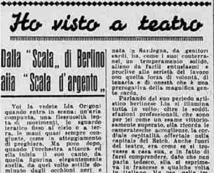 """Stampa Sera: dalla """"Scala"""" di Berlino alla """"Scala d'Argento"""""""
