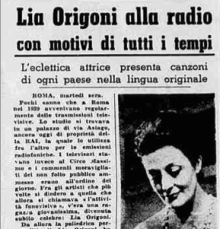 La Stampa: Lia Origoni allo radio con motivi di tutti i tempi.