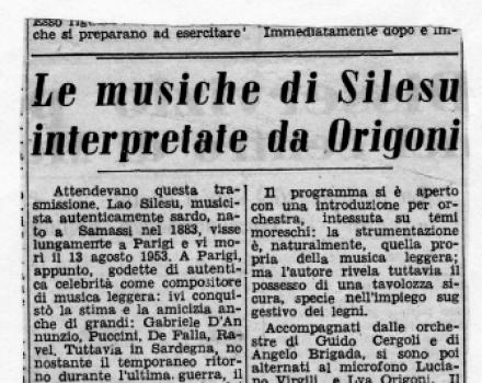 Le musiche di Silesu interpretate da Origoni