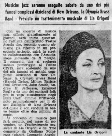 Il Tempo: Trattenimento musicale di Lia Origoni