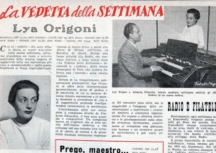 La Vedetta della Settimana ( dal Radio Corriere – 1949)