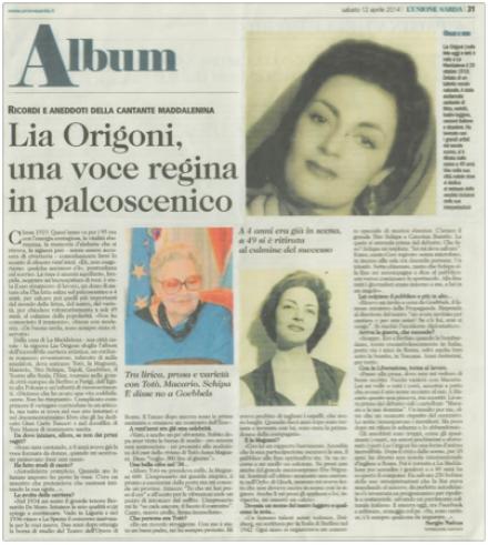 Lia Origoni: una Voce regina in palcoscenico